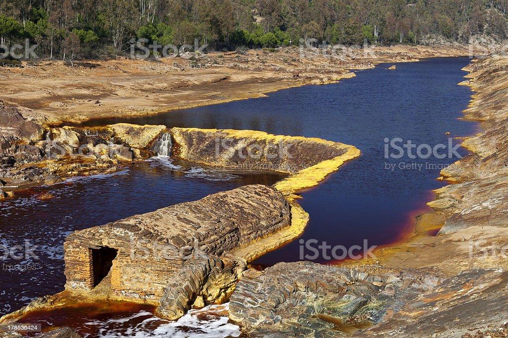 Old mill in the Tinto river, Huelva, Spain stock photo