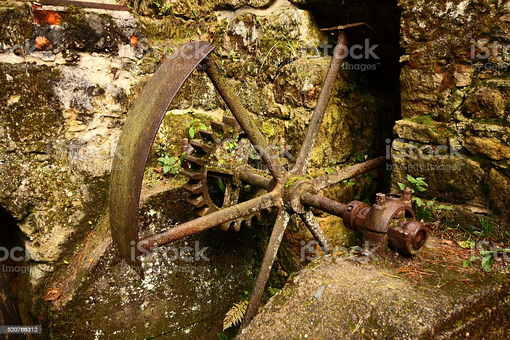 Old mill mechanism stock photo