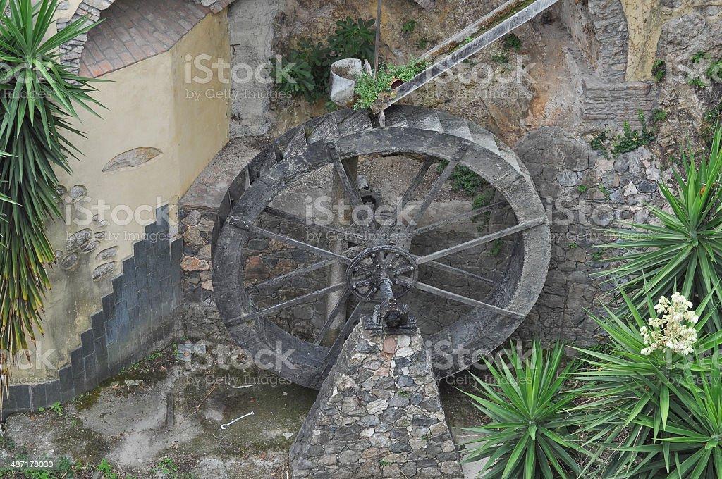 Old mill wheel stock photo