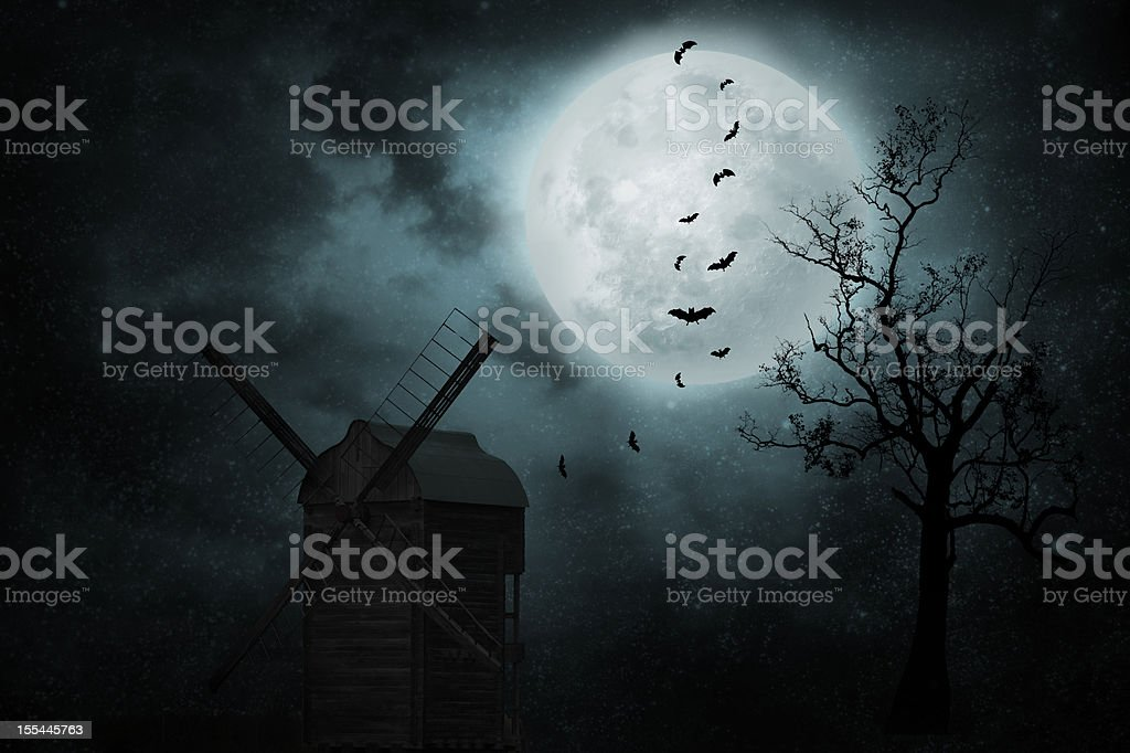 Old mill with bats stock photo