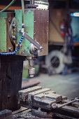 Old milling machine and vice. Detail.