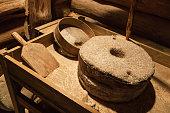 Old millstones for grinding grain, vintage