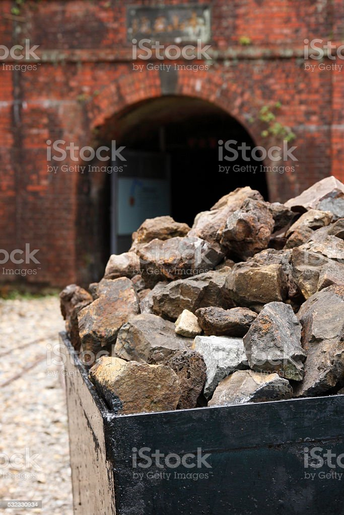 Old Mine Cart and Entrance stock photo