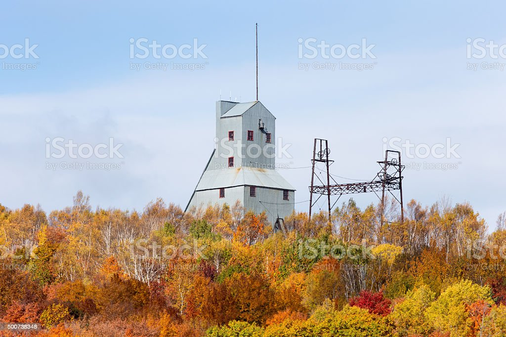 Old Mine Shaft House in Fall Foliage stock photo