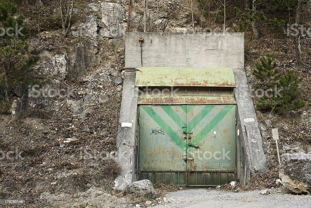 old mine shaft steel door stock photo