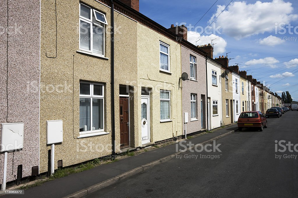 Old Miners Houses in Coalville royalty-free stock photo