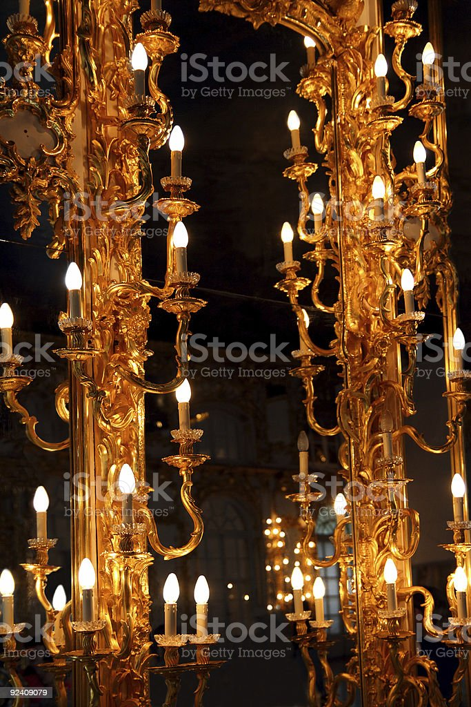 old mirror with golden lamps royalty-free stock photo