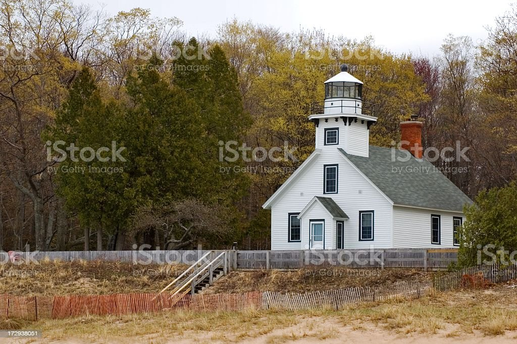 Old Mission Point Lighthouse in Spring royalty-free stock photo