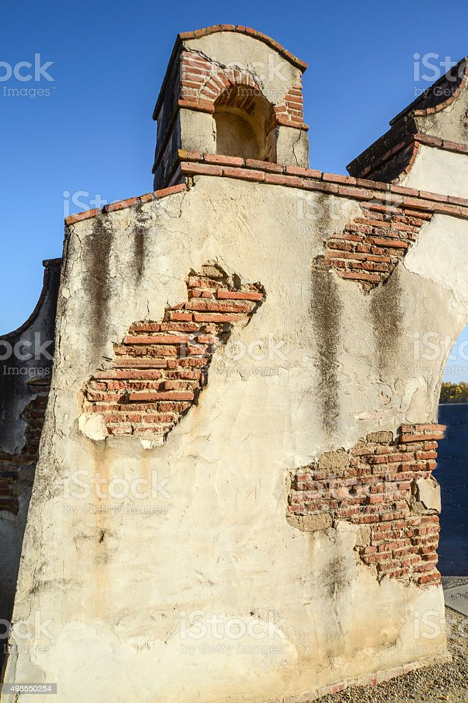 Old mission wall stock photo