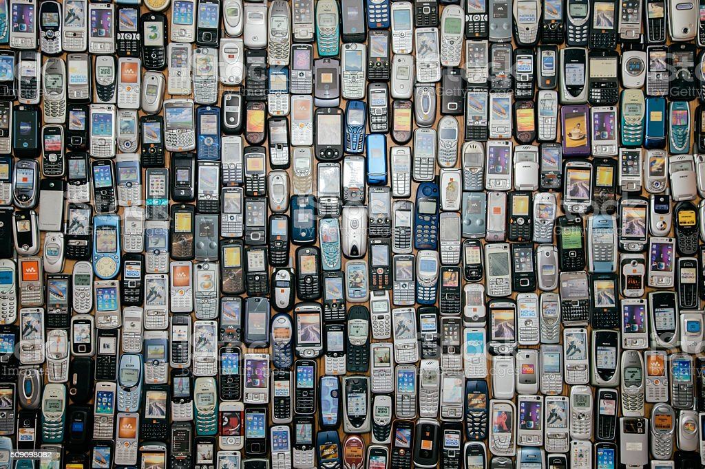 Old mobile phones stock photo