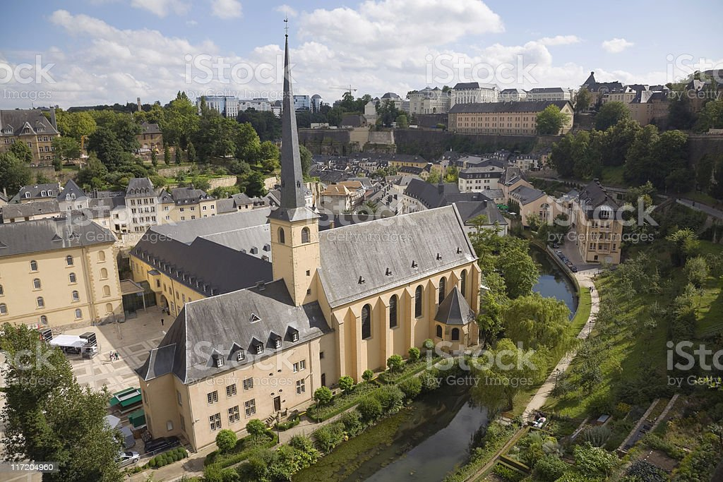 old monastery city Luxembourg stock photo
