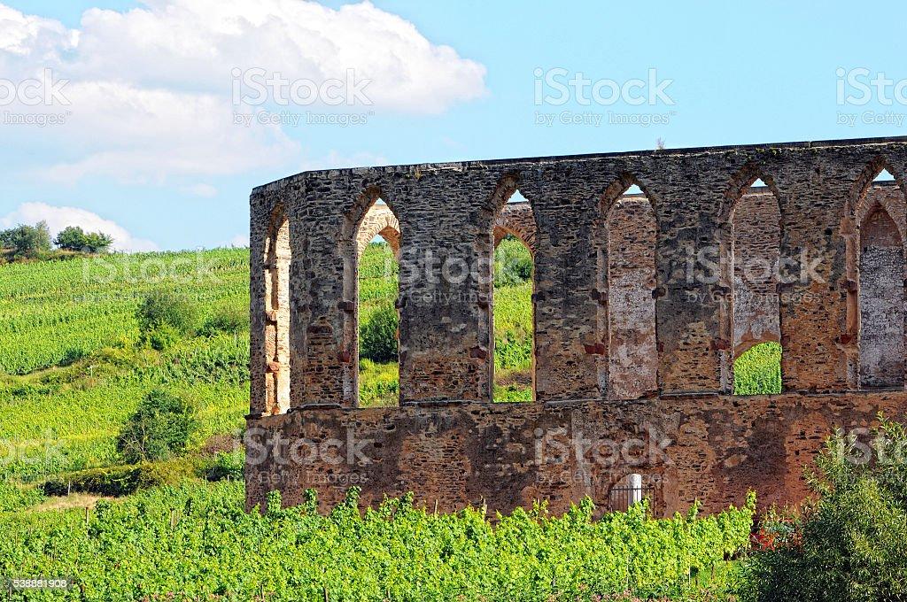 old monastery ruin in Stuben at mosel river stock photo