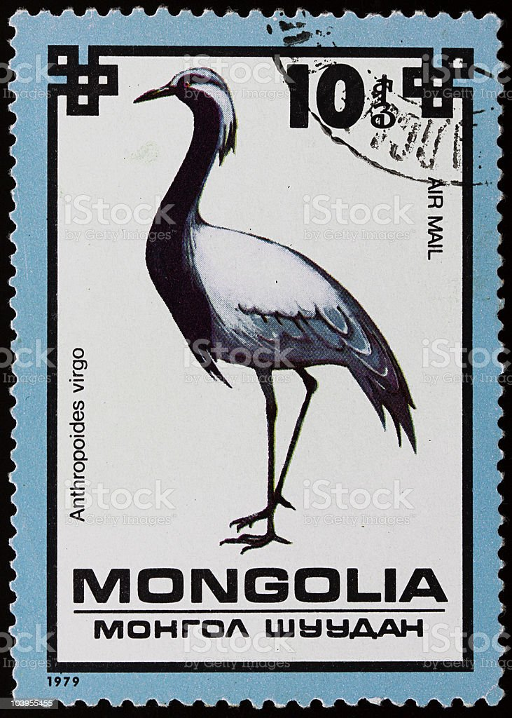 Old mongolian stamp stock photo