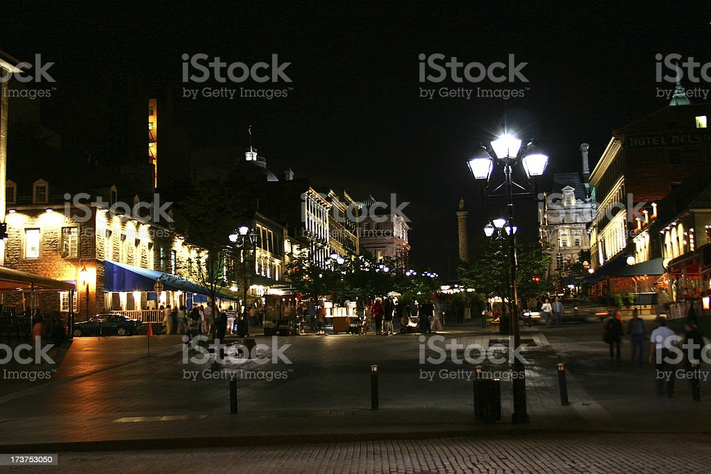 Old Montreal at night royalty-free stock photo