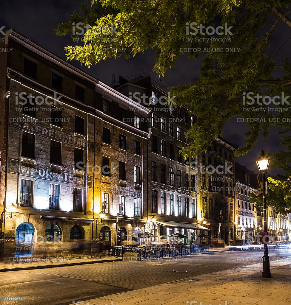 Old Montreal at Night stock photo