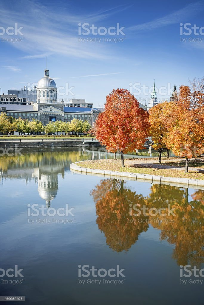 Old Montreal Autumn Reflections, Canada stock photo