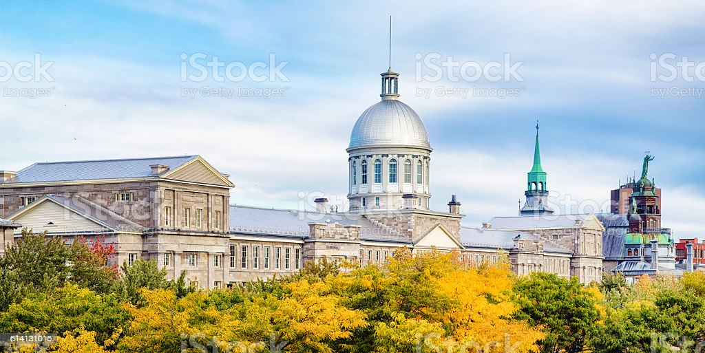 Old Montreal Bonsecours market Autumn panorama stock photo