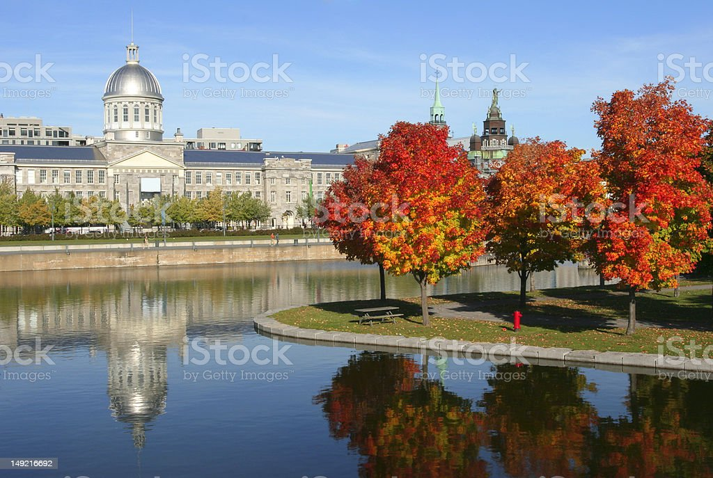 Old Montreal, Bonsecours Market reflections in autumn stock photo