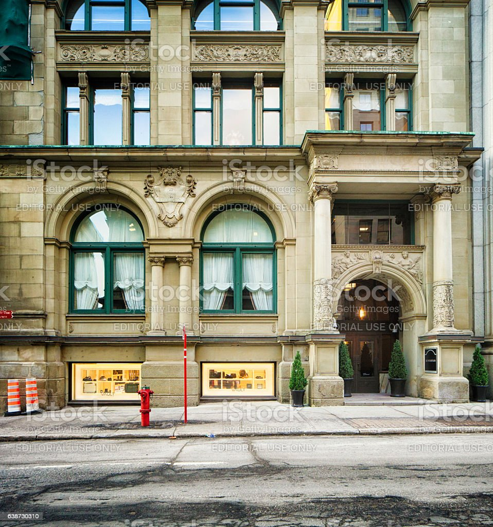 Old Montreal Hotel Le St-Regis entrance and facade stock photo