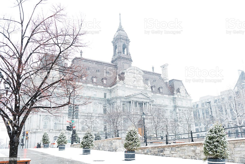 Old Montreal Quebec Winter Architecture Background with Snow stock photo