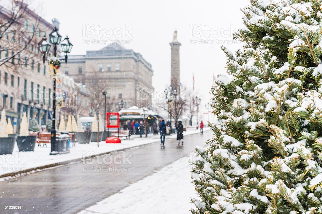 Old Montreal Travel Background in Winter Quebec Canada stock photo