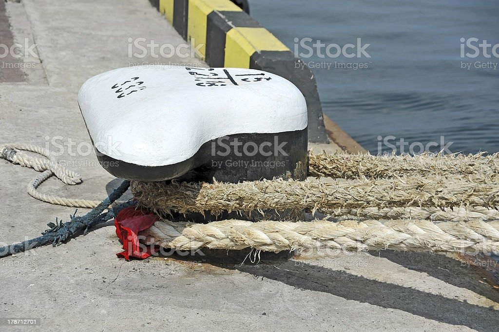 Old mooring bollard royalty-free stock photo