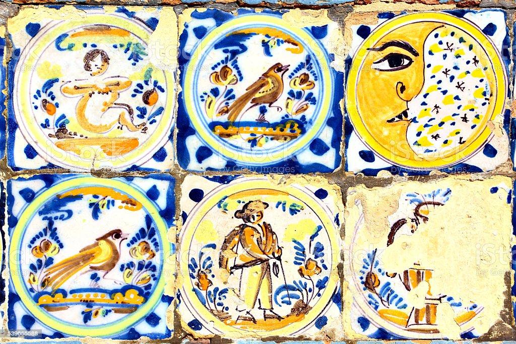 Old moorish ceramic tiles stock photo