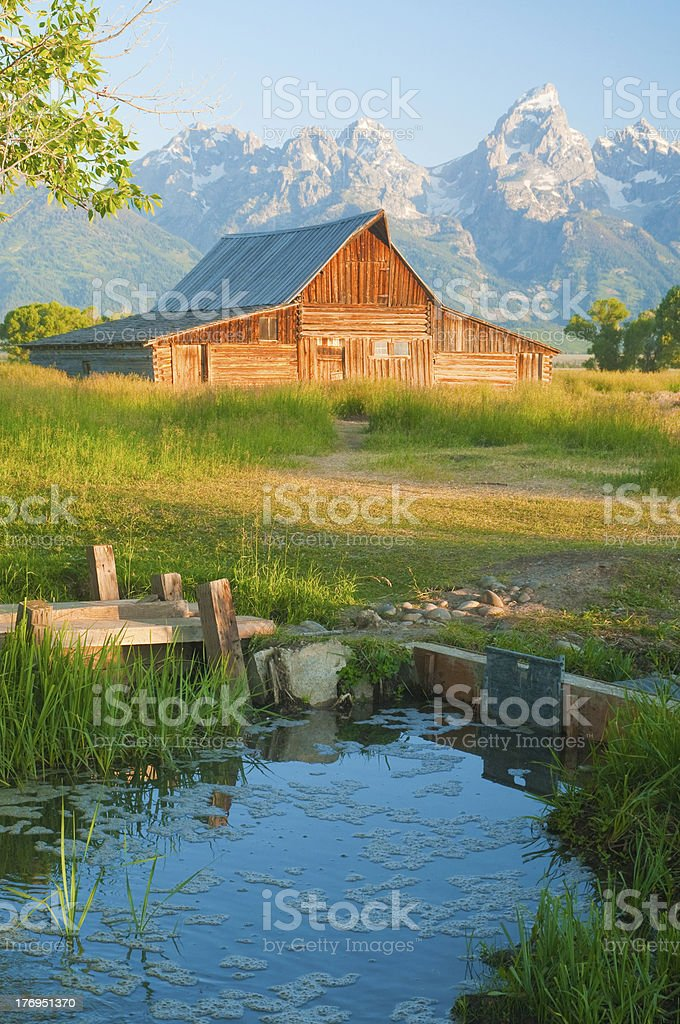 Old Mormon Barn against the tetons royalty-free stock photo