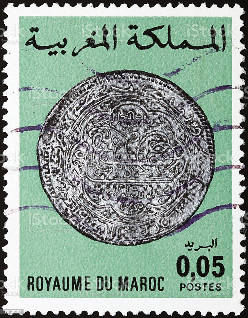 Old moroccan stamp stock photo