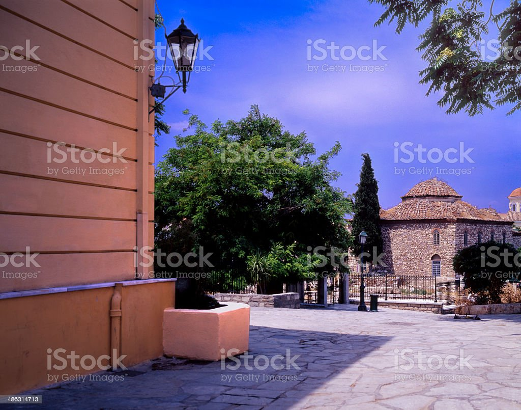 Old Mosque at Plaka neighborhood in Athens stock photo