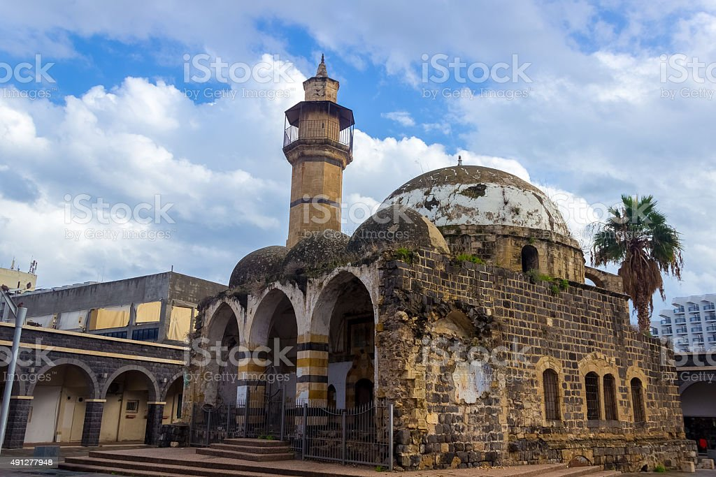 Old mosque, decaying, falling apart, shot in tiberias Israel stock photo