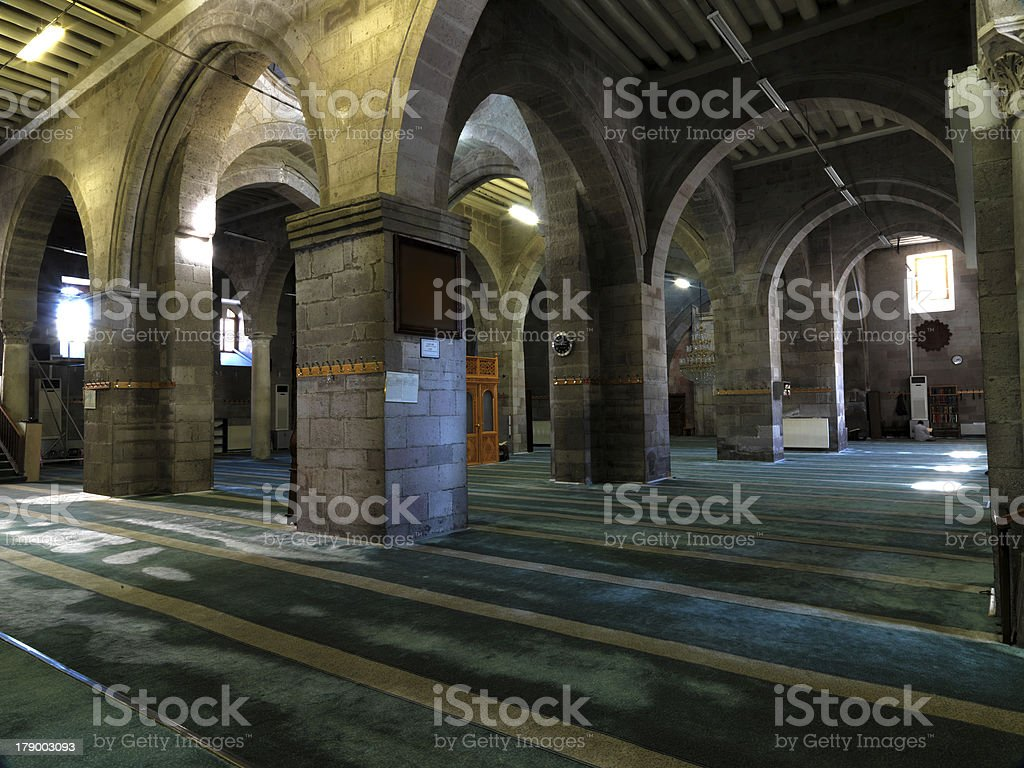 Old mosque indoors column royalty-free stock photo