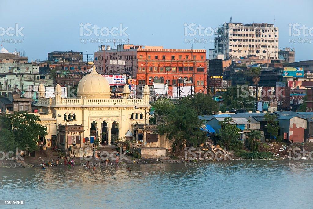 Old mosque riverside in Kolkata, India. stock photo