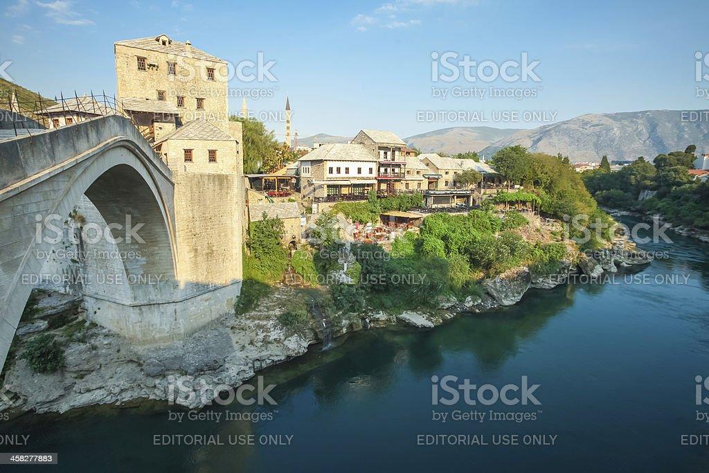 Old Mostar bridge over the Neretva river royalty-free stock photo