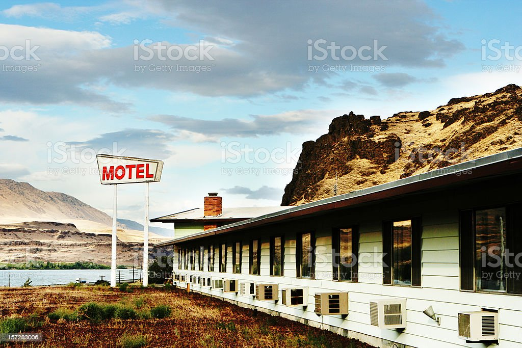Old Motel in the Desert stock photo