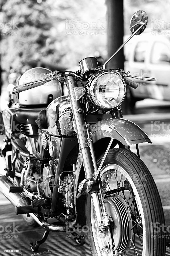 old Motorcycle. Black and WHite royalty-free stock photo