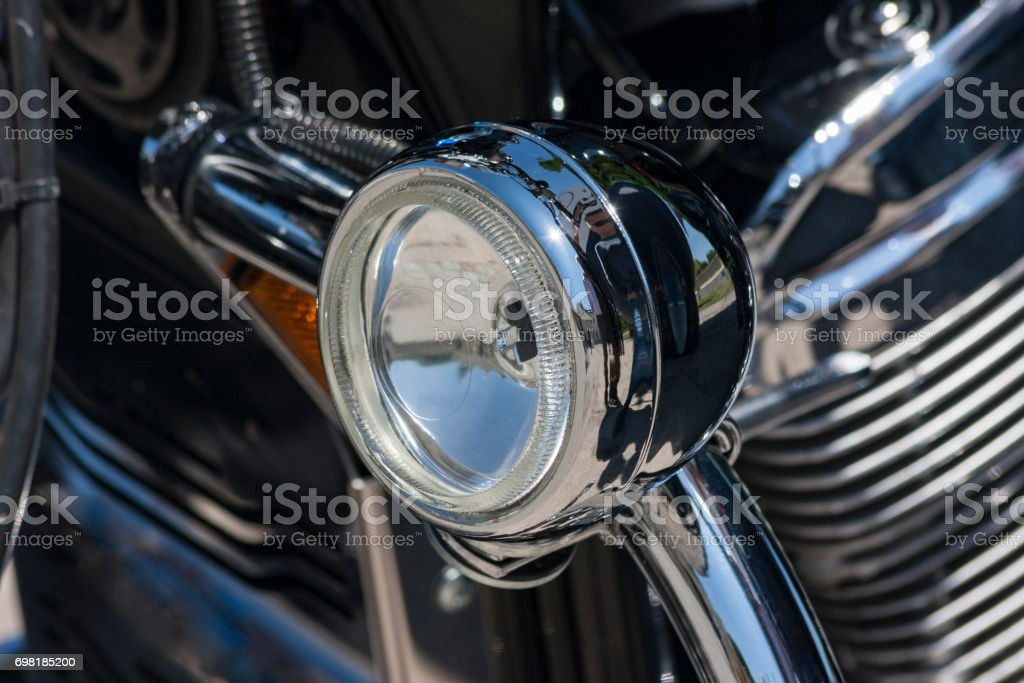 Old motorcycle: detail stock photo