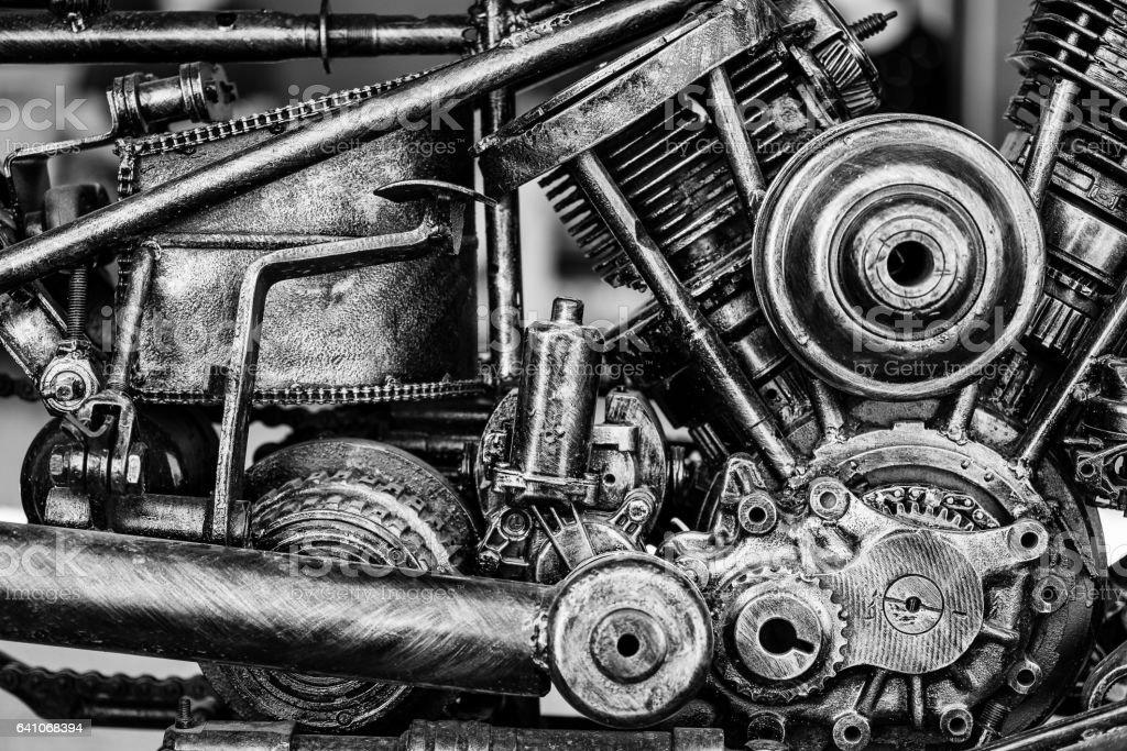 Old motorcycle engine block. stock photo
