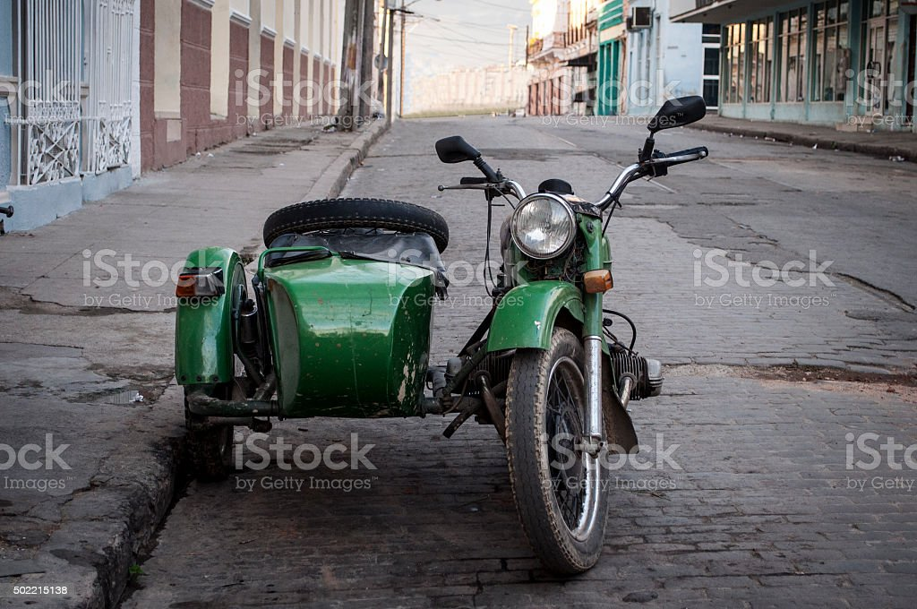 Old motorcycle with sidecar stock photo