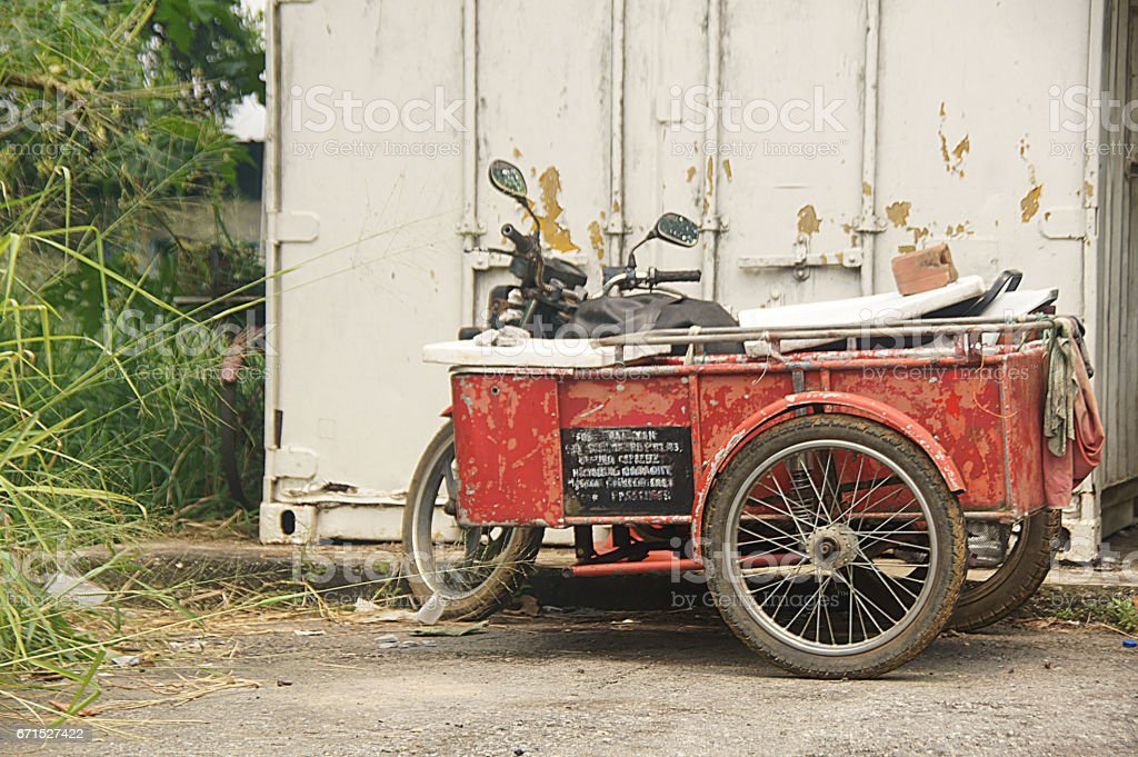 Old motorcylce with sidecar stock photo