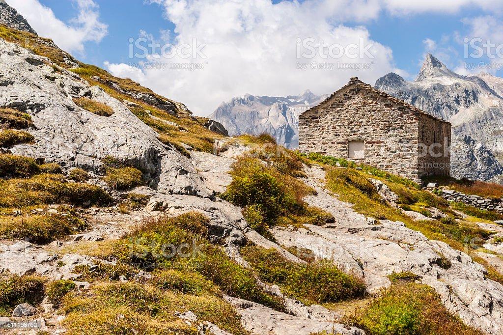 Old mountain chapel near the Great St Bernard Pass stock photo