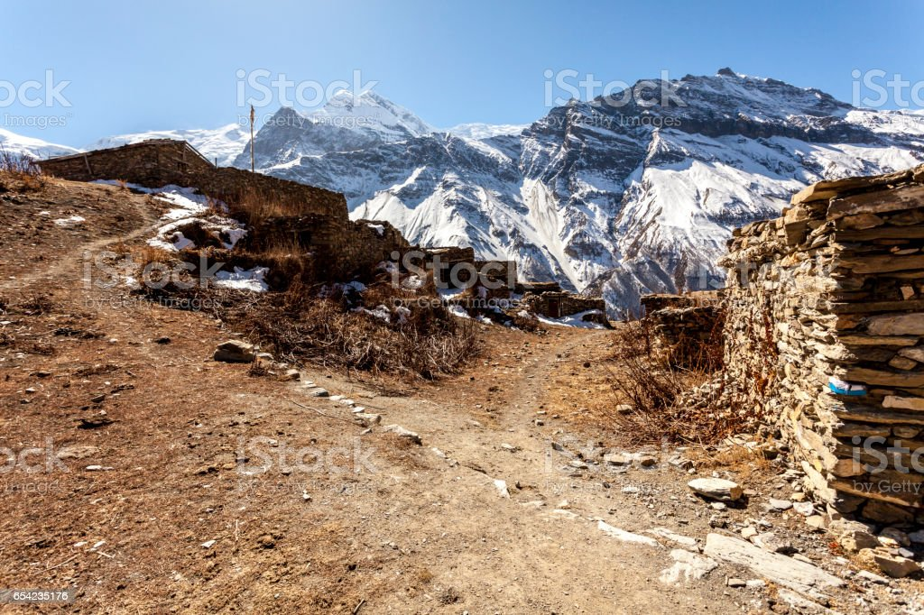 Old mountain village in Nepal, Himalayas, Annapurna Conservation Area stock photo