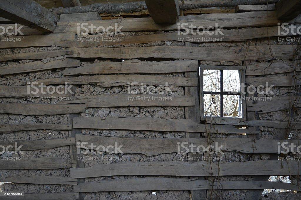 old mud house, window stock photo