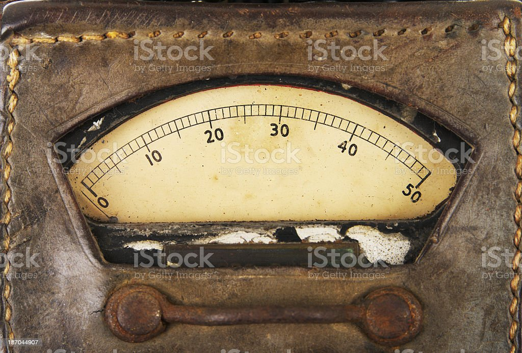 Old Multimeter Dial In Leather Case stock photo