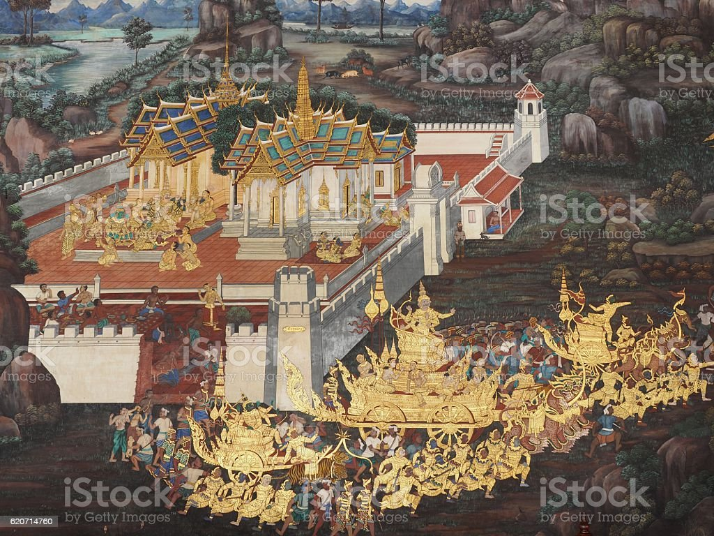 old mural is the story of ramakian stock photo