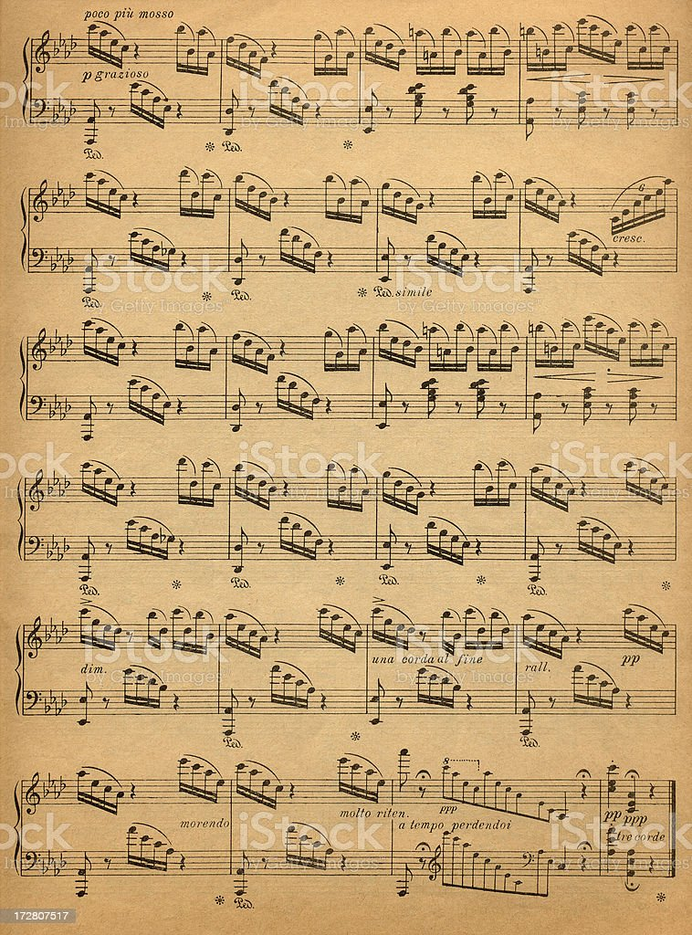 Old Music Sheet stock photo