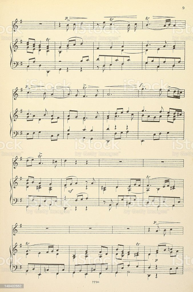 Old musical score - no lyrics stock photo