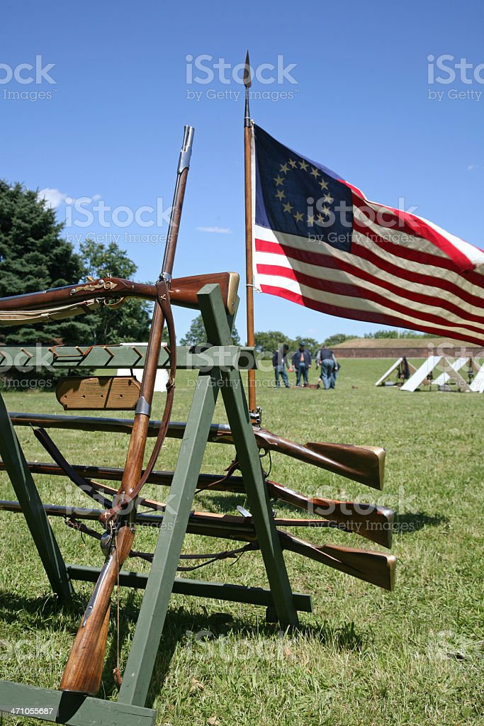 Old Muskets And American Flag royalty-free stock photo