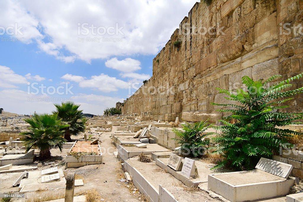 Old muslim cemetery in Jerusalem, stock photo