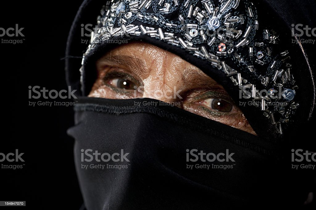 Old Muslim Woman's Eyes stock photo